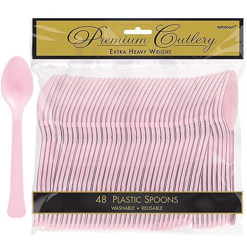 Blush Pink Premium Plastic Spoons 48ct Image #1