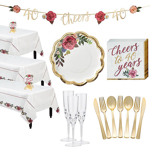 Metallic Gold 40th Anniversary Rose Tableware Kit for 50 Guests Image #1