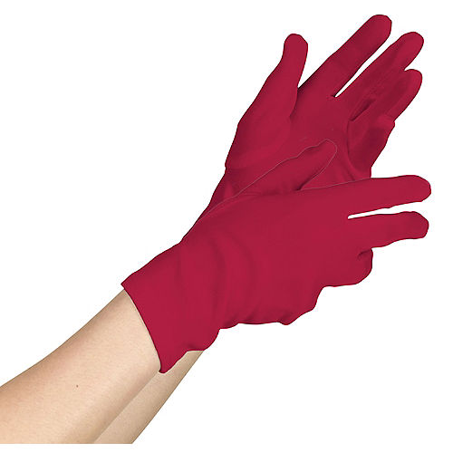 Womens Short Red Gloves Image #1