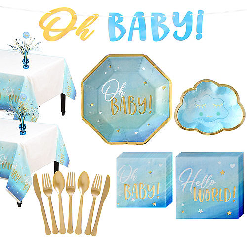 Blue & Metallic Gold Oh Baby Boy Baby Shower Kit for 16 Guests Image #1