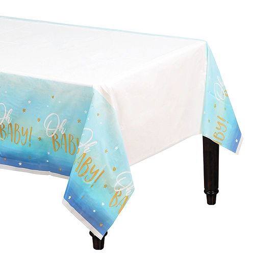Blue & Metallic Gold Oh Baby Boy Baby Shower Kit for 16 Guests Image #6