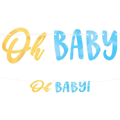 Blue & Metallic Gold Oh Baby Boy Baby Shower Kit for 16 Guests Image #9