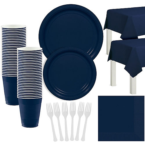 True Navy Blue Paper Tableware Kit for 50 Guests Image #1