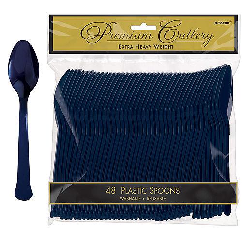 True Navy Premium Plastic Spoons 48ct Image #1