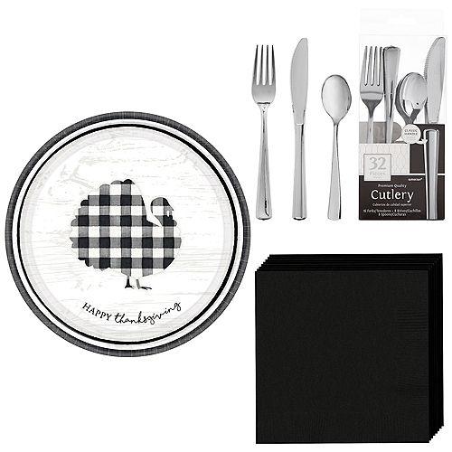 Black & White Check Tableware Kit for 16 Guests Image #1