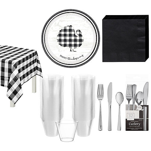 Black & White Check Tableware Kit for 32 Guests Image #1