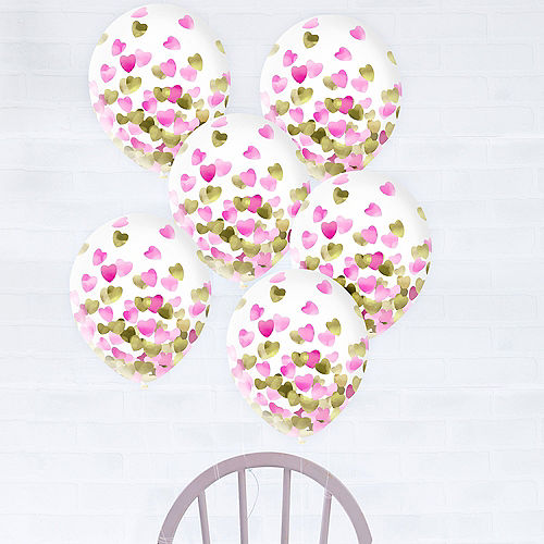Metallic Gold & Pink Heart Confetti Balloons, 12in, 6ct Image #1