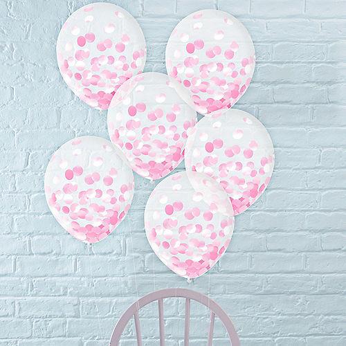 Metallic Pink Confetti Balloons, 12in, 6ct Image #1