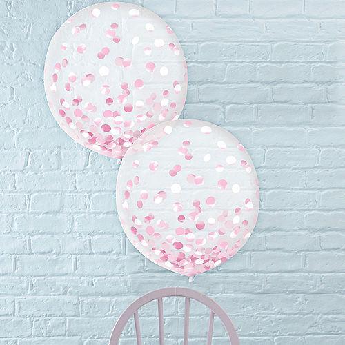 Metallic Pink Confetti Balloons, 24in, 2ct Image #1