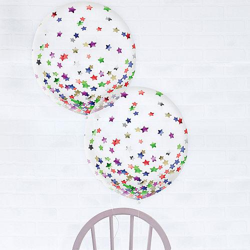 Multicolor Star Confetti Balloons, 24in, 2ct Image #1
