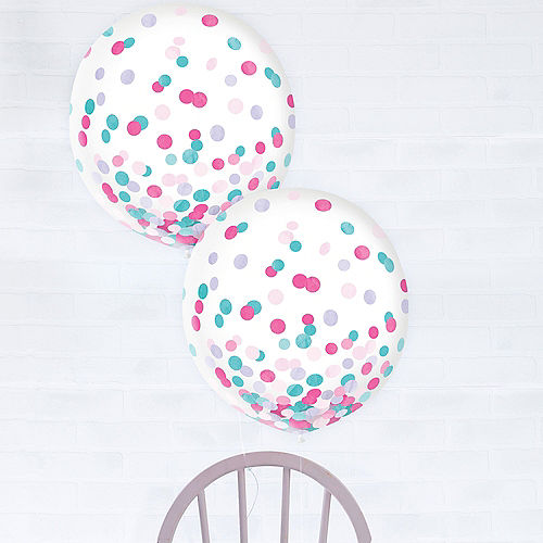 Lavender, Pink & Turquoise Confetti Balloons, 24in, 2ct Image #1