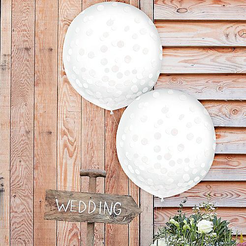White Confetti Balloons, 24in, 2ct Image #1