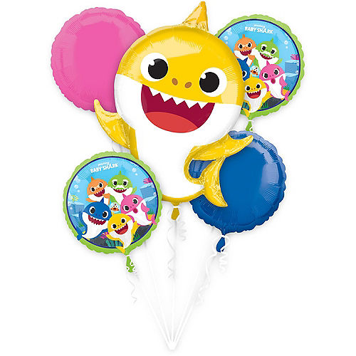 Baby Shark Balloon Bouquet 5pc Image #1