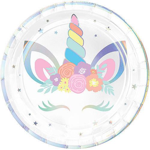 Iridescent Unicorn Party Lunch Plates 8ct Image #1