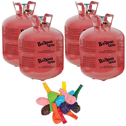 Balloon Time Large Helium Tanks (4) with 72 Balloons & Ribbon Image #1