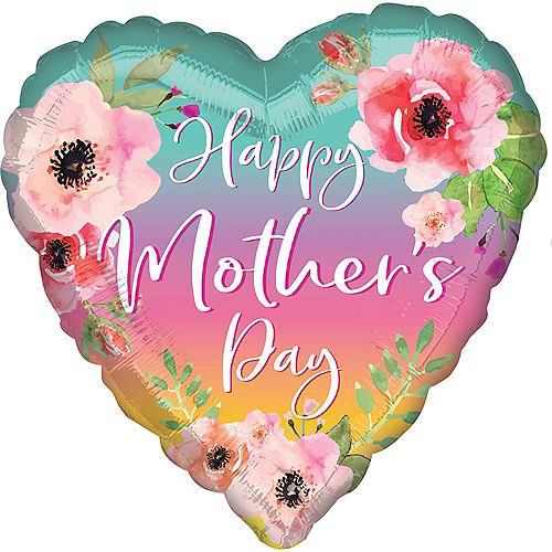 Ombre Floral Mother's Day Heart Balloon, 18in Image #1