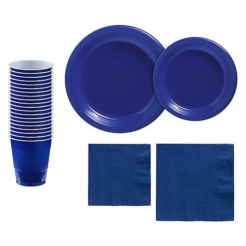 Royal Blue Plastic Tableware Kit for 20 Guests Image #1