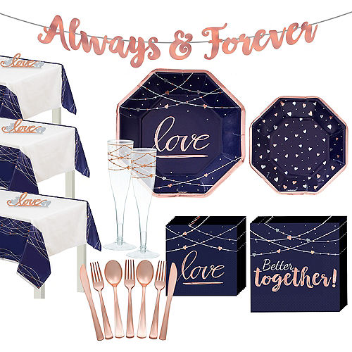 Navy & Rose Gold Wedding Tableware Kit for 100 Guests Image #1
