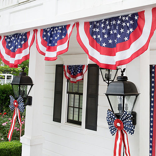 Patriotic American Flag Bunting & Bows Decorating Kit 10pc Image #1