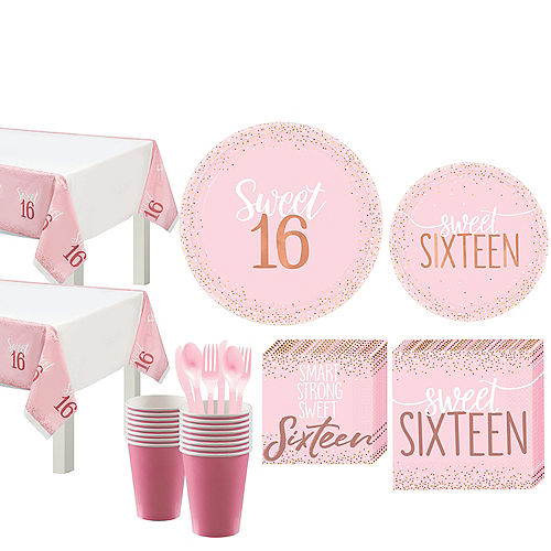 Nav Item for Metallic Rose Gold & Pink Sweet 16 Tableware Kit for 16 Guests Image #1