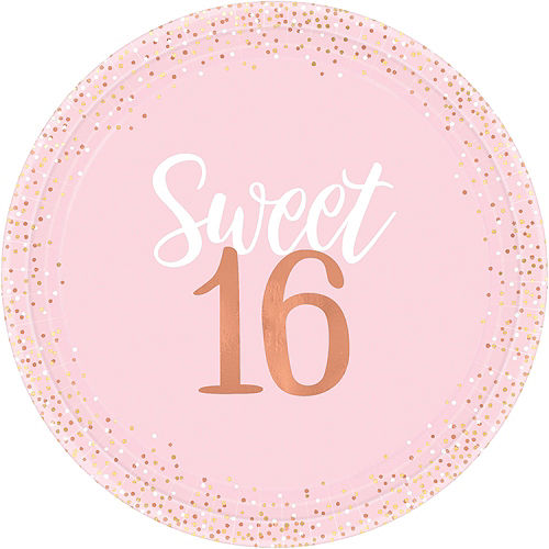 Nav Item for Metallic Rose Gold & Pink Sweet 16 Tableware Kit for 16 Guests Image #3