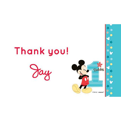 Custom Mickey's 1st Birthday Thank You Notes Image #1