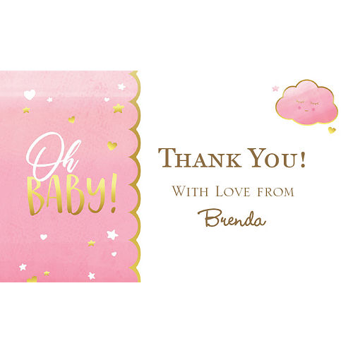 Custom Oh Baby Girl Thank You Note Image #1
