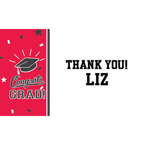 Custom School Colors Pride Red Thank You Note  Image #1