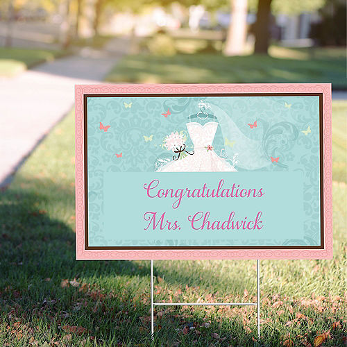 Custom Something Blue Bridal Shower Yard Sign Image #1