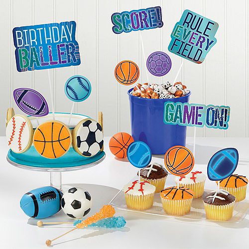 Birthday Baller Cake Toppers 12ct Image #1