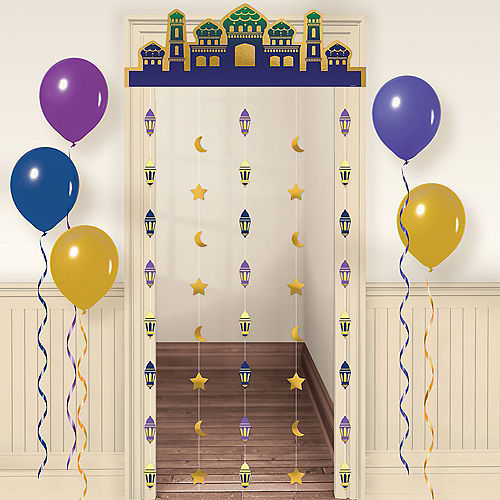 Indigo & Metallic Gold Eid Doorway Curtain Image #1