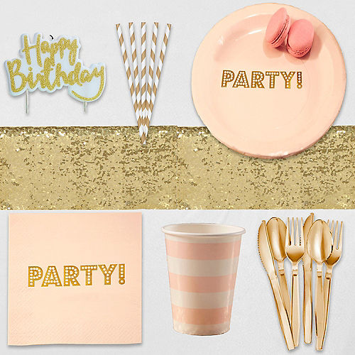 Super Ginger Ray Metallic Gold & Pink Party Kit for 16 Guests Image #1