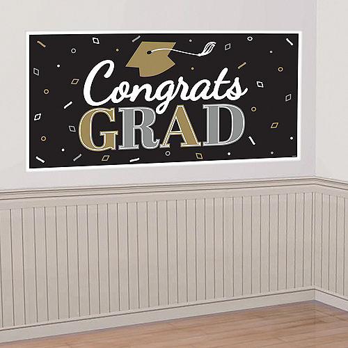 Nav Item for Black, Silver & Gold Congrats Graduation Banner Image #1