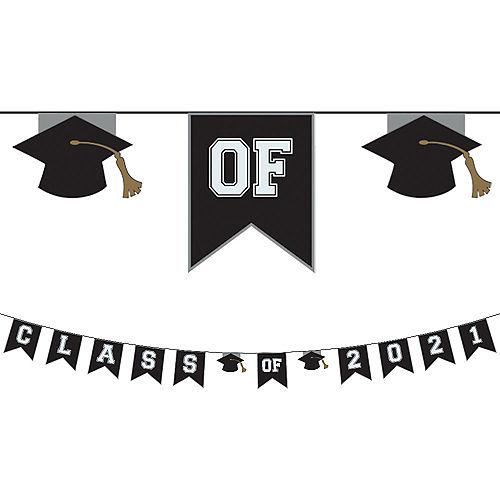 Black & White Class of 2021 Graduation Plastic Pennant Banner Image #1