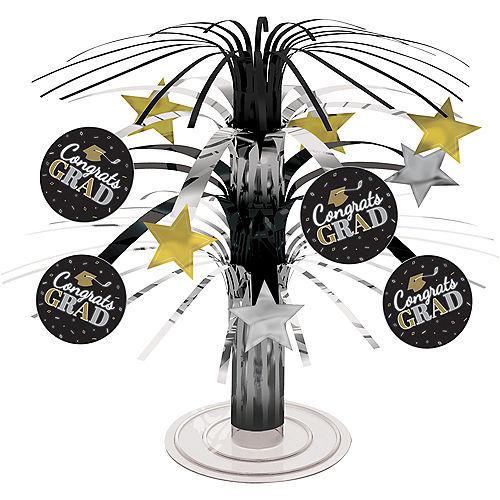 Mini Black, Silver & Gold Congrats Graduation Cascade Centerpiece Image #1