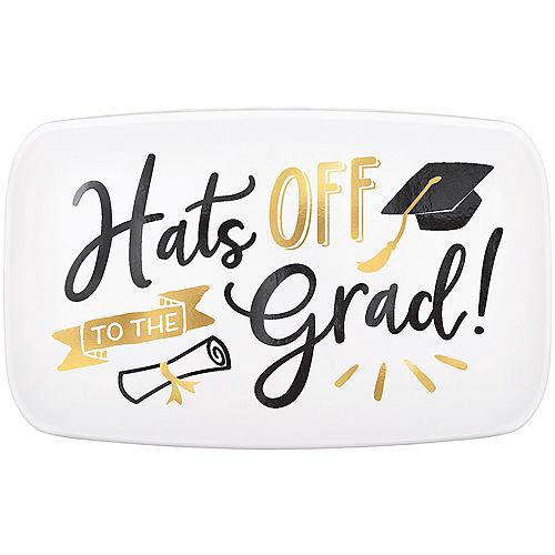 Metallic Gold Hats Off Graduation Rectangular Plastic Platter, 18in x 11in Image #1