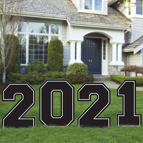 Giant Black & White 2021 Graduation Plastic Yard Signs, 4pc Image #1