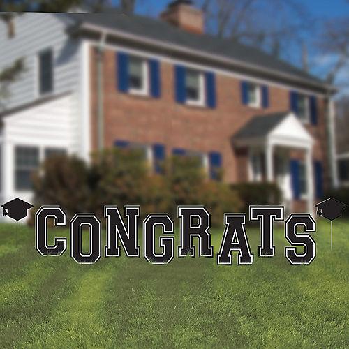 Black Congrats Graduation Yard Sign, 10pc Image #1