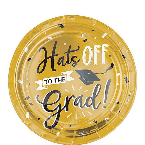 Black & Gold Hats Off Graduation Paper Dessert Plates, 7in, 8ct Image #1