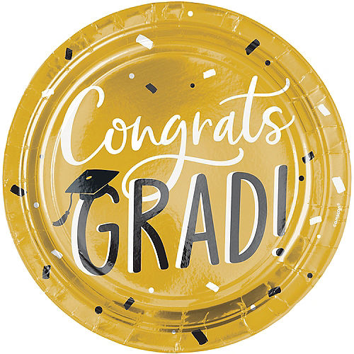 Black & Gold Hats Off Graduation Paper Dinner Plates, 10.5in, 8ct Image #1
