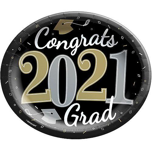 Black, Silver & Gold Congrats 2021 Grad Oval Paper Plates, 12in, 18ct Image #1