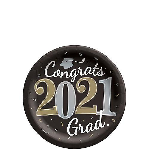 Black, Silver & Gold Congrats 2021 Grad Paper Dessert Plates, 7in, 18ct Image #1