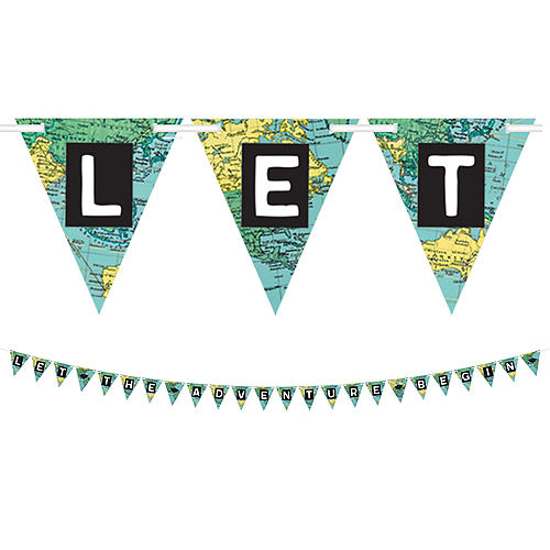 The World Awaits Graduation Pennant Letter Banner Image #1
