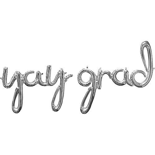 Silver Yay Grad Cursive Letter Balloon Phrase, 33in, 2pc Image #1