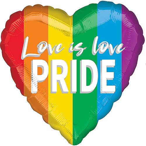 Rainbow Love is Love Pride Heart Balloon, 17in Image #1