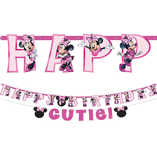 Minnie Mouse Forever Personalized Birthday Banner Kit 2ct Image #1