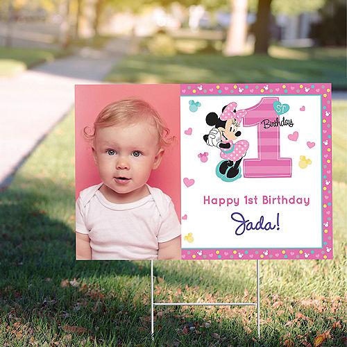 Custom Minnie's Fun to be 1 Photo Yard Sign Image #1