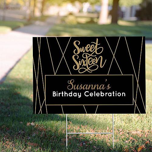 Custom Elegant Sweet 16 Yard Sign Image #1