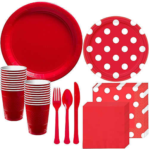 Red Polka Dot Tableware Kit for 16 Guests Image #1