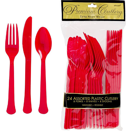 Red Polka Dot Tableware Kit for 16 Guests Image #7